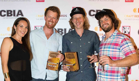 The Modus Operandi team collecting their swag of awards at the Craft Beer Awards on Friday