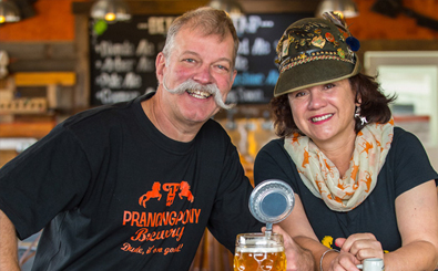 Husband and wife team Frank Samson and Corinna Steeb at Prancing Pony Brewery. Image credit: John Kruger