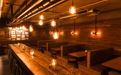 Inside 4 Pines Underground which is packed with recycled timber and bunker lighting