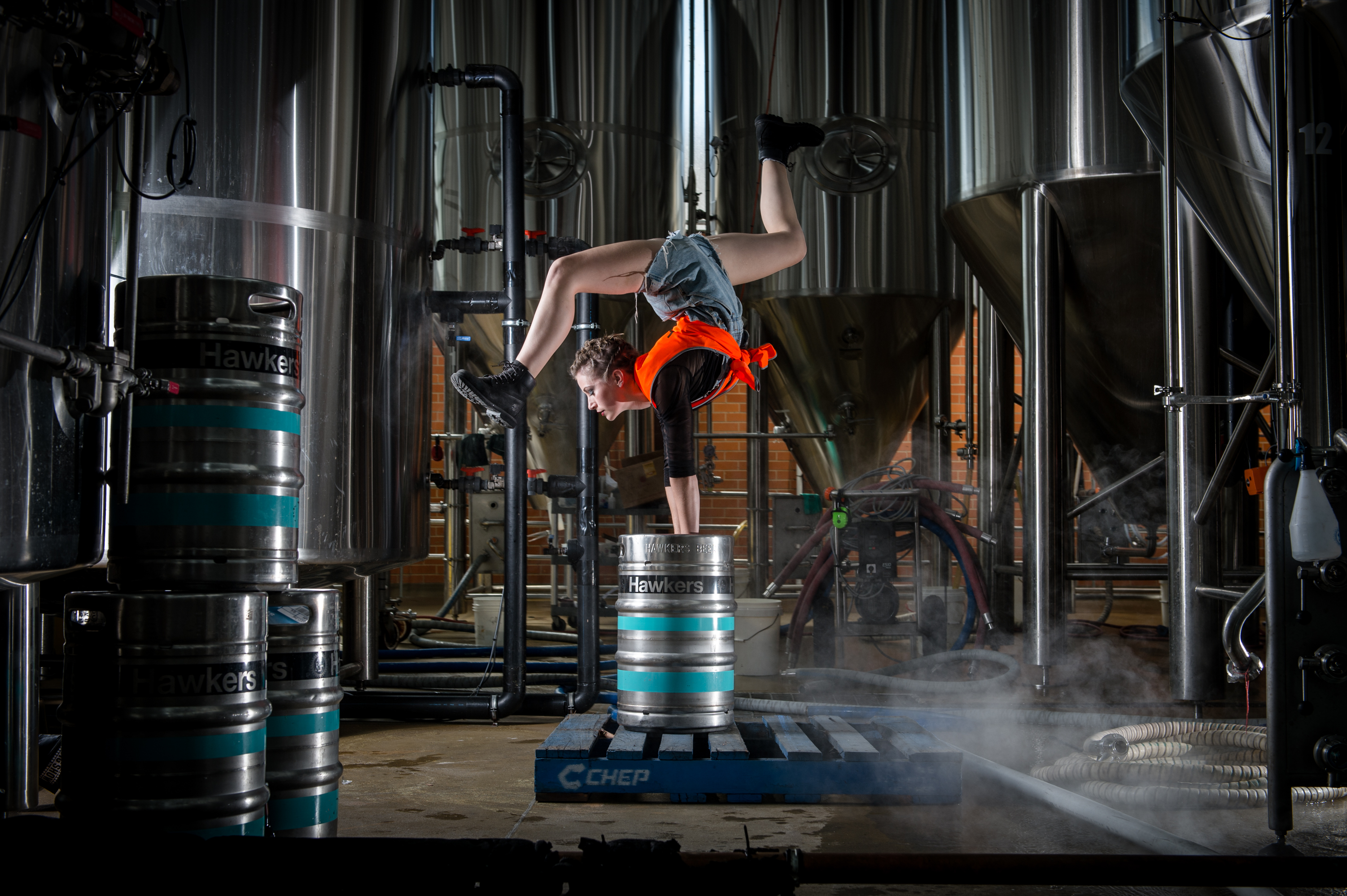 Hawkers Brewery. Acrobat Emily Gare in action at Hawkers Brewery in Reservoir ahead of Good Beer Week.