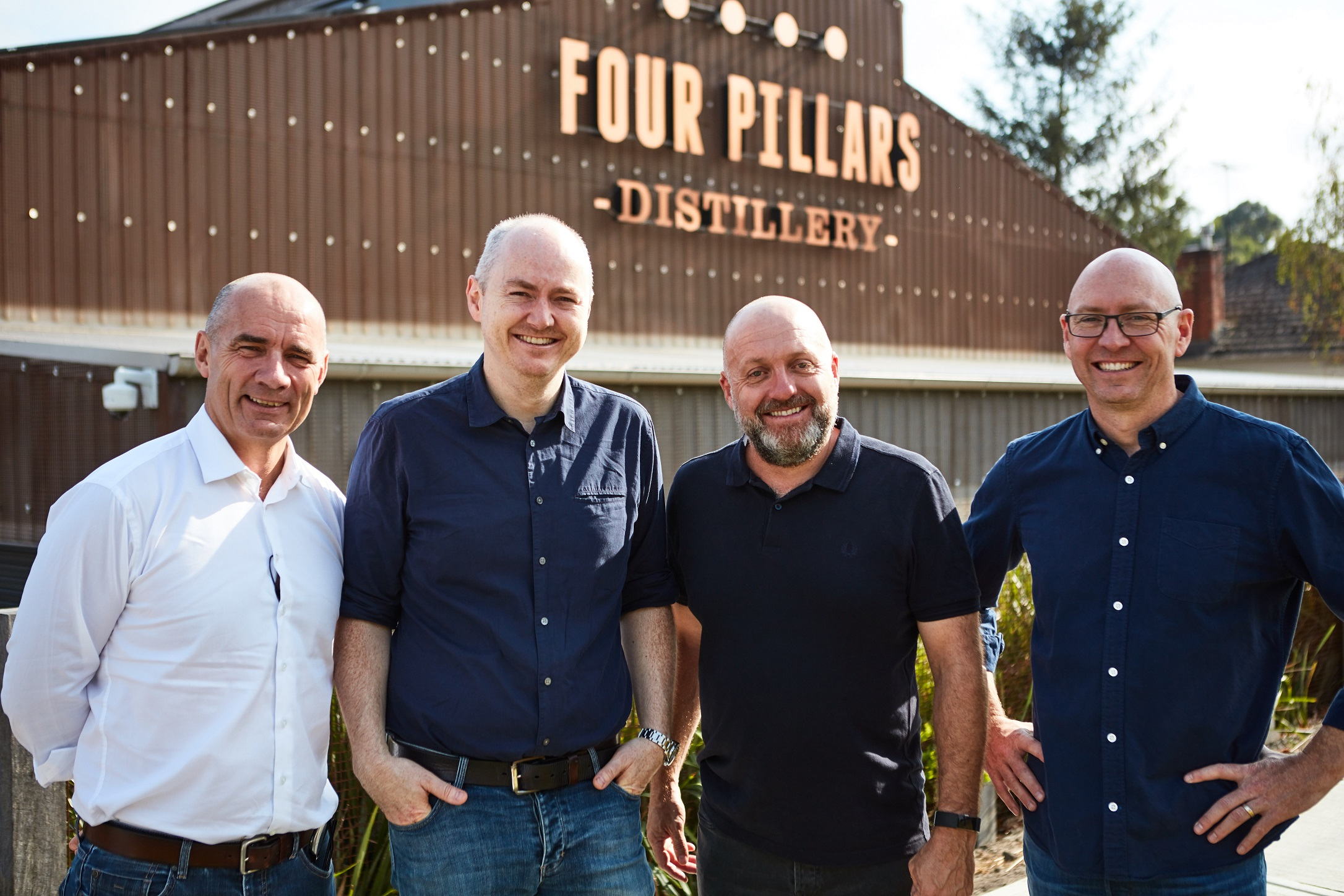 (l-r) Lion's James Brindley with Four Pillars founders Matt Jones, Stuart Gregor and Cameron Mackenzie