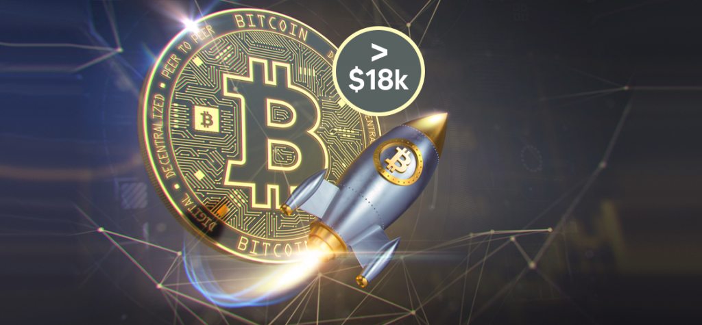 Bitcoin Skyrockets Above $18,000 as it Approaches an All-Time High Level