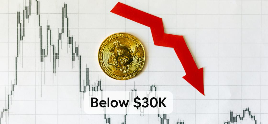 Bitcoin Drops Below $30K and Indicating Further Losses
