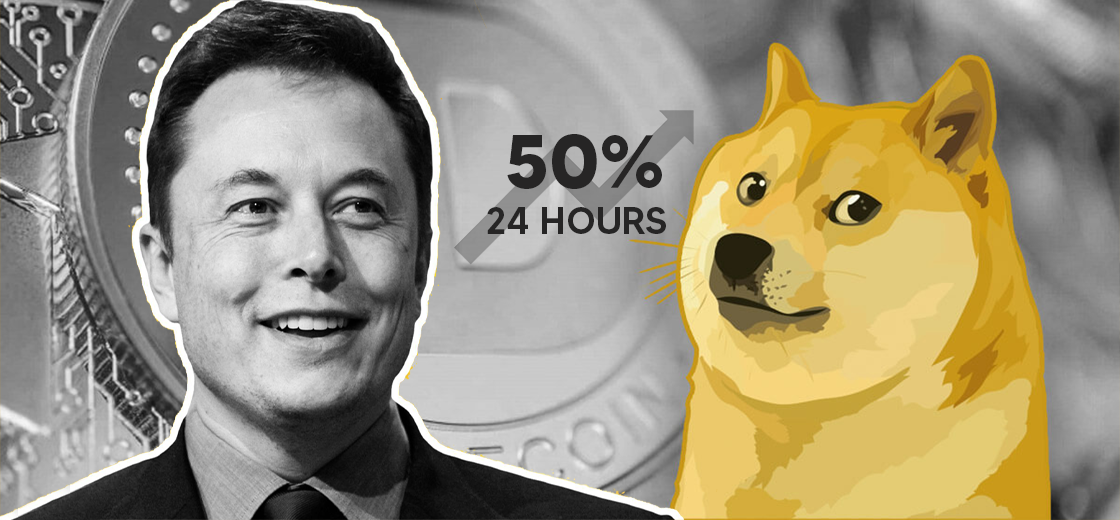 Elon Musk's 'Fav Cryptocurrency' Dogecoin Spikes 50% in Past 24 Hours