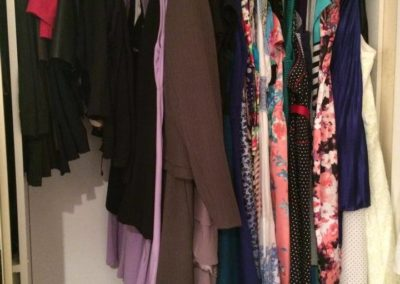 """2 of 3 """"After"""" of this large wardrobe. This client could not part with many of her beautiful dresses"""