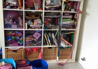 """2 of 5 This is the """"After"""" or more accurately """"Partially done"""" photo of this kids playroom. We dealt with all the tiny toys collected in the storage tubs but didn't get time to deal with the bookcase unfortunately."""