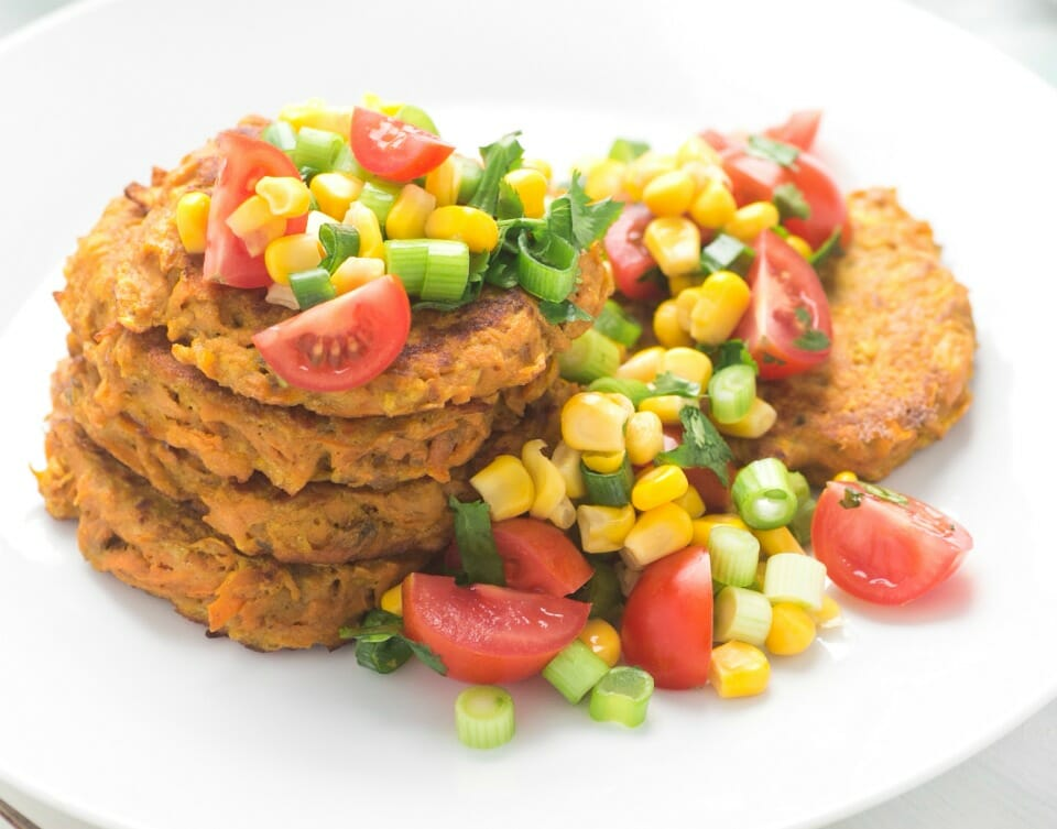 Sweet Potato Fritters with Corn Salsa