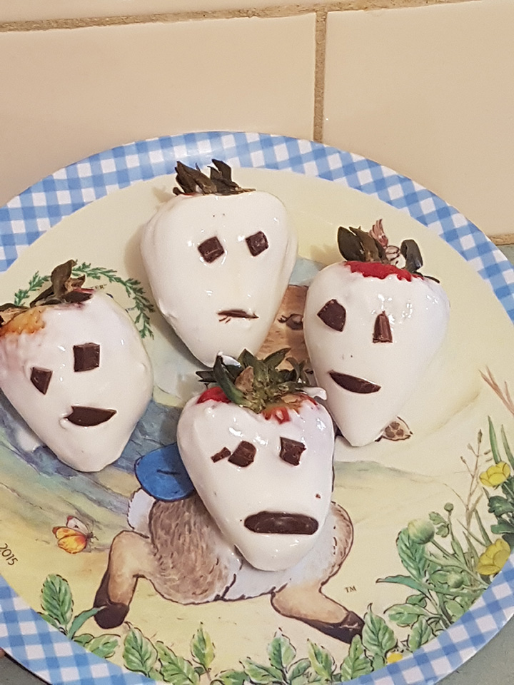halloween ghost strawberry snack tegan blake
