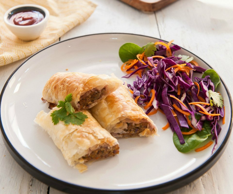 Healthy pork and veggie sausage rolls
