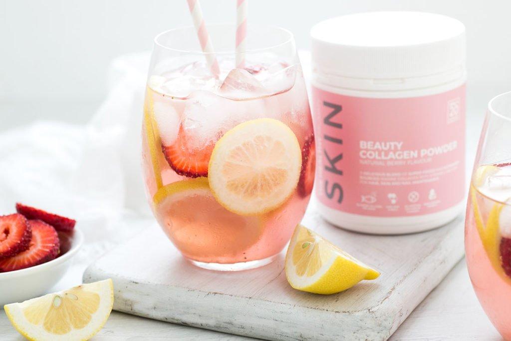 Lemon and Strawberry Collagen Sparkler
