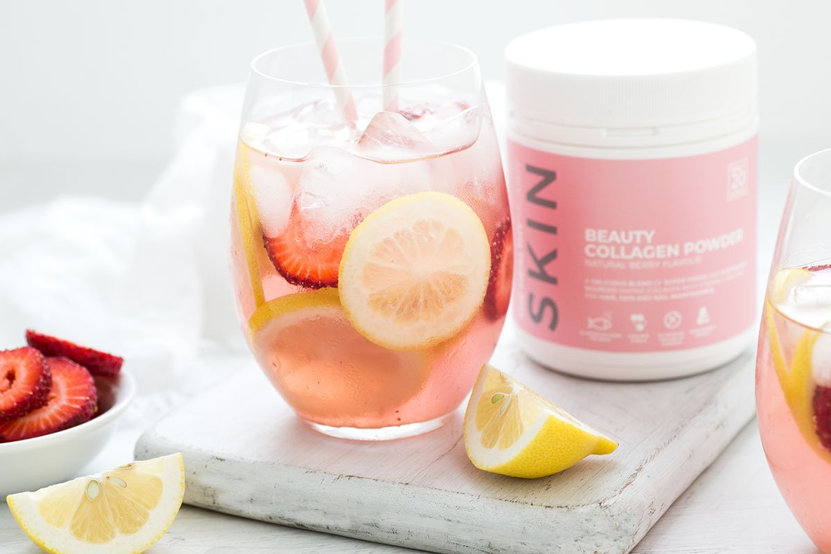Lemon and Strawberry Collagen Sparkler