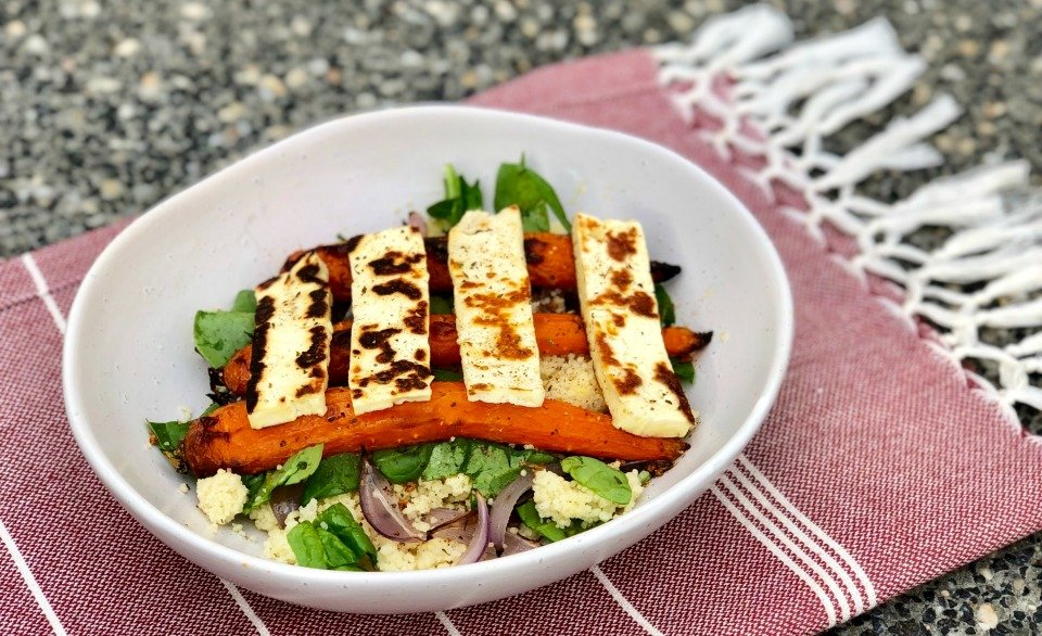 Roasted Carrot and Haloumi Couscous Salad