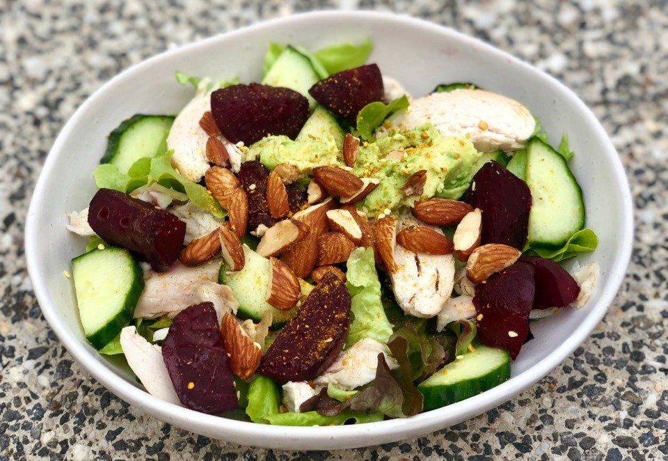 Roasted Beetroot and Chicken Super Salad