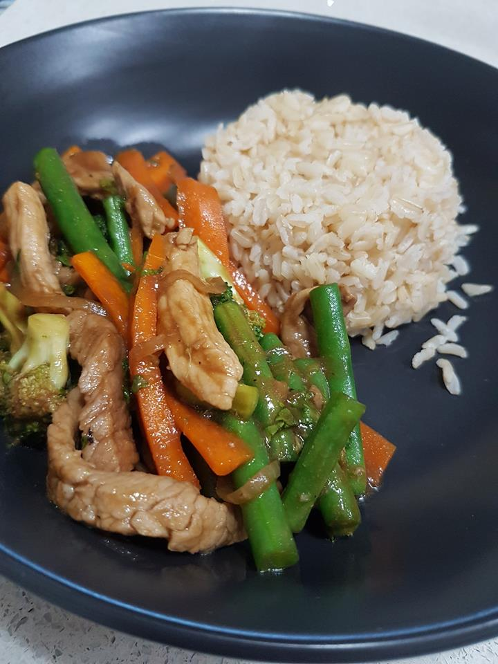 Hoisin pork with greens and rice Lauren Kolstad