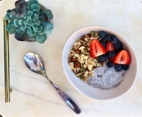 Coconut Chia Seed Pudding with Almond Maple Granola