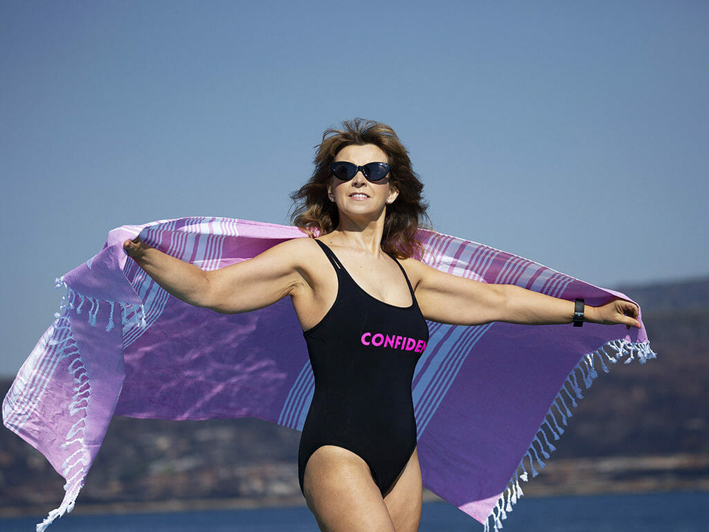 Kerrie-in-swimwear-with-pink-towel-regain-confidence