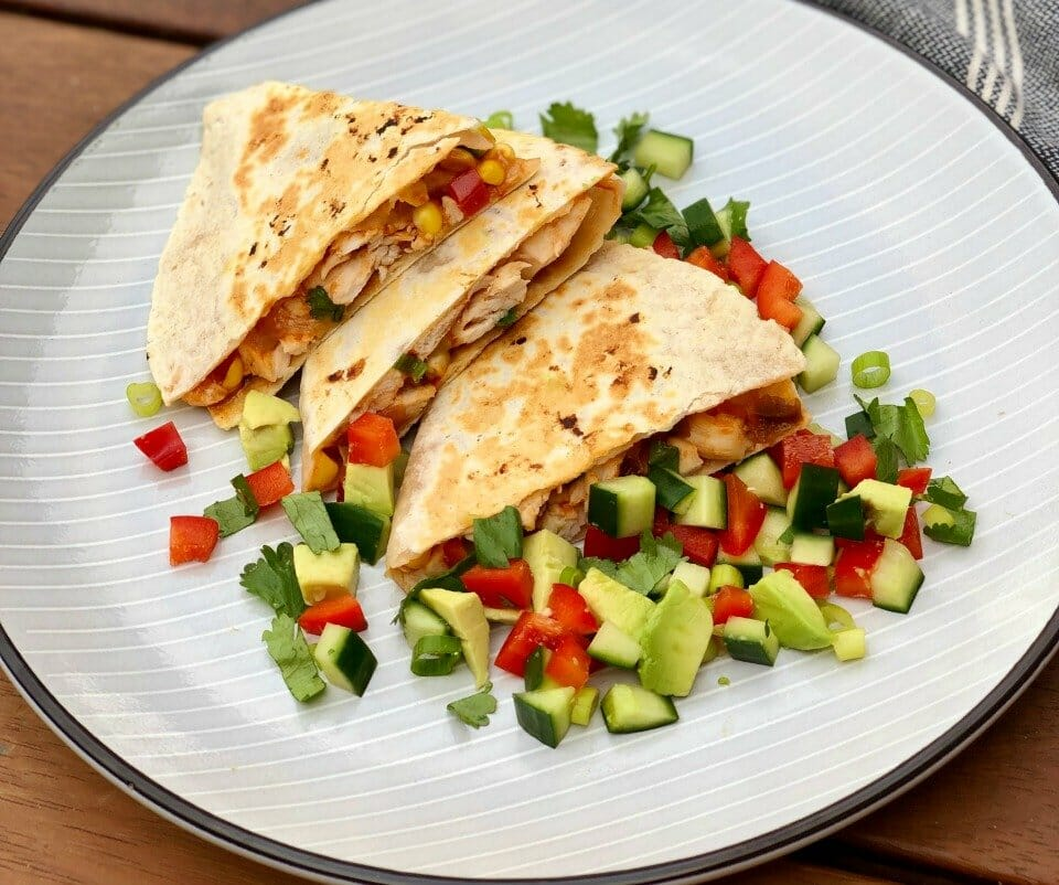 Chicken-and-Corn-Quesadilla-with-avocado-salsa