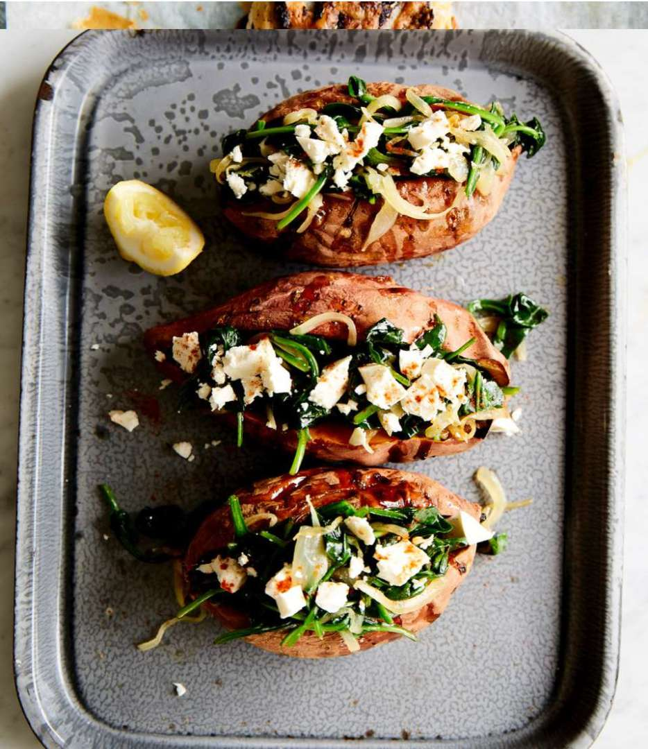 Baked Sweet Potatoes With Spinach & Feta