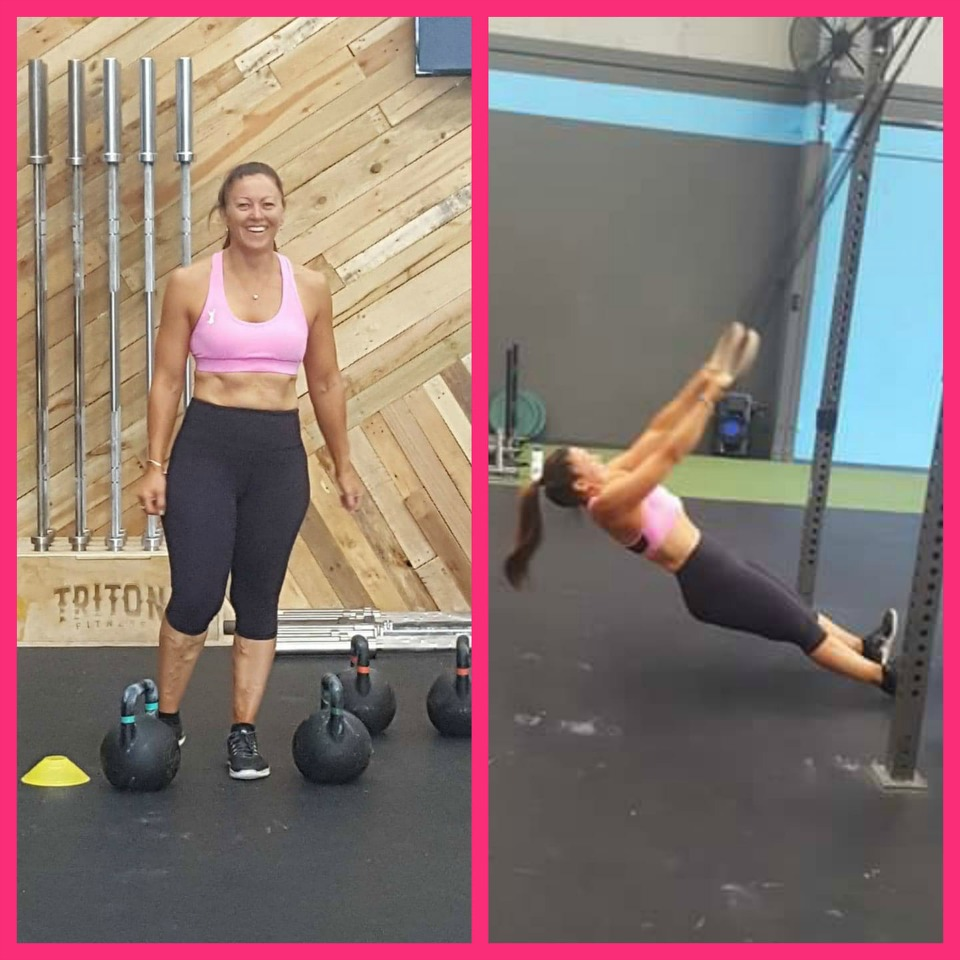 Julie-Banham-non-scale-victory-working-out-without-tshirt-2