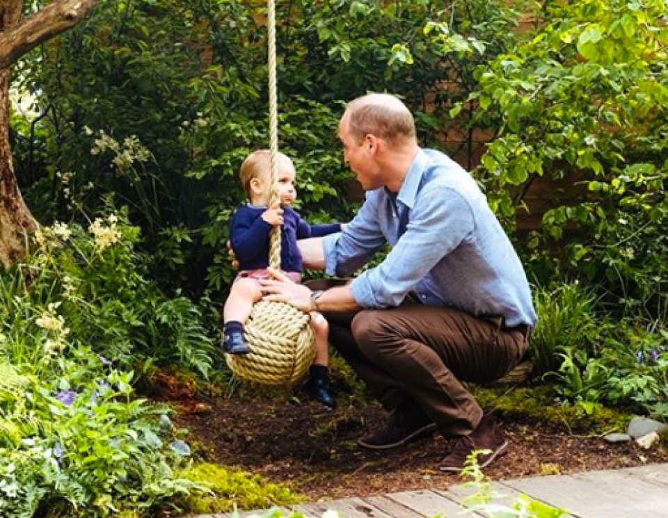 CUTE SNAPS: Prince George, Princess Charlotte and Prince Louis in their mum's garden