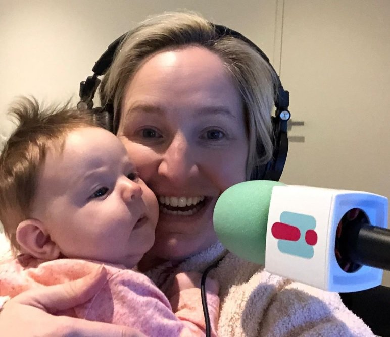 Fifi Box back at work WITH baby Daisy