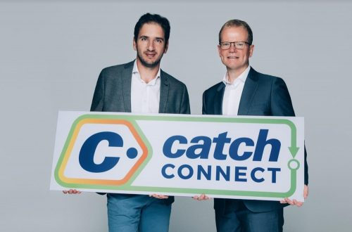 Catch Group Nati Harpaz with Optus wholesale and satellite MD Stuart Bird