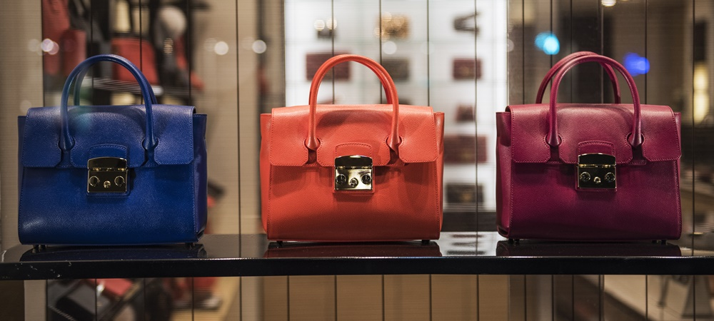 Luxury retail: expensive handbags in a store