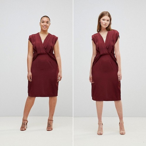 ASOS virtual fit shows the same item on different models