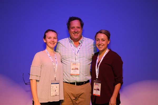 Young Liquor Retailer of the Year finalists Shanais MarcusHogue (left) and Sharni Fenton with Giuseppe Minissale