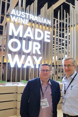 Wine Australia's Stuart Barclay and David Lucas at VinExpo