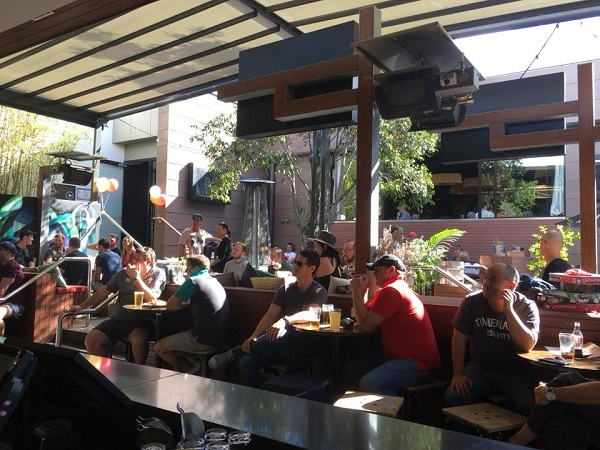 Punters watch Sunday's action at Brisbane's Brunswick Hotel