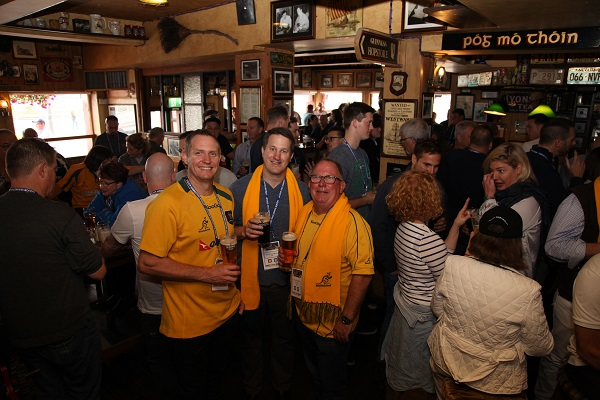 Matt McEvoy, Wayne Bayfield and Gavin Saunders watching theWallabies at the Ferryman Hotel in Dublin