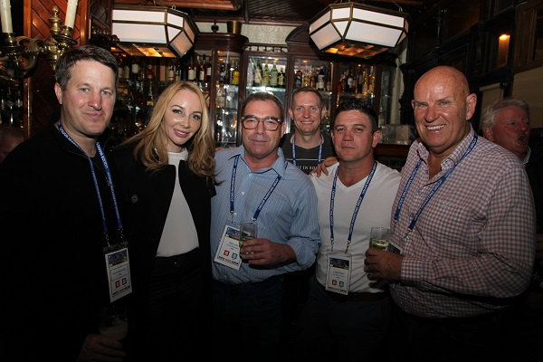 Gavin Saunders and Doug May flank delegates at the Nancy Hands pub in Dublin