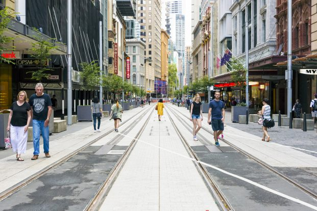A completed section of Light Rail track on George Street, Sydney