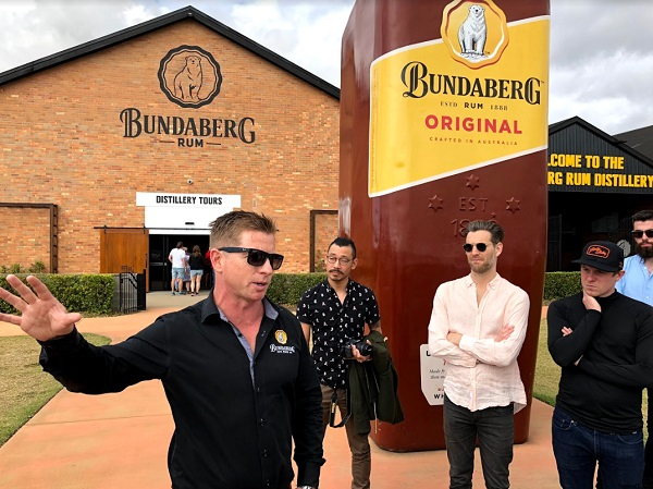Outside the Bundaberg distillery and visitor centre