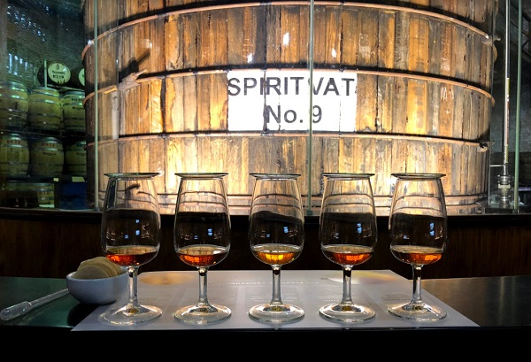 Different rum styles in front of spirit vat nine
