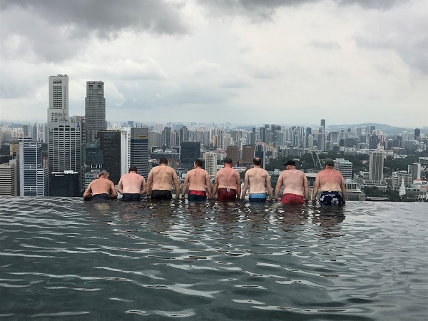 Delegates took the opportunity to have some fun in the infinity pool at Marina Bay Sands in Singapore