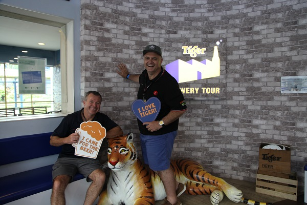 Andy Clements and Paul Esposito at the Tiger Brewery