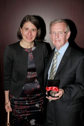 NSW Premier Gladys Berejiklian and Hall Of Fame inductee Bevan Douglas