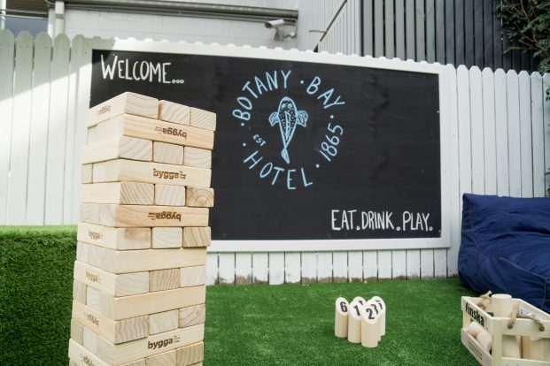 The Botany Bay Hotel garden area, Banksmeadow