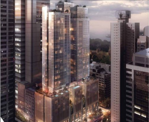 Two proposed towers above the Pitt Street Metro Station