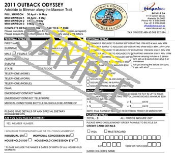 Sample fax or email registration form Outback Odyssey