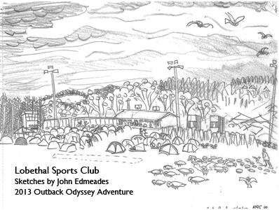 Sketch by John Edmeades Outback Odyssey Adventures 2013, Lobethal Sports Club