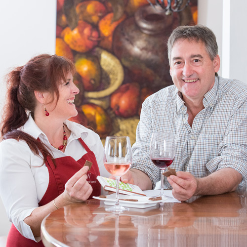 Hahndorf Hill co-owner, Marc Dobson (right) with cellar door Manager, Dee Wright