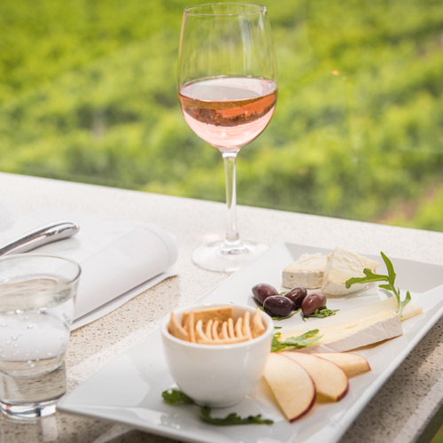 Cheese plate and vineyard views at Hahndorf Hill cellar door