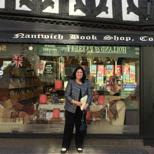 Janice Madden Outside Nantwich Bookshop