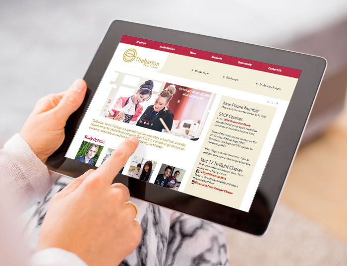 Thebarton Senior College Website Tablet Optimised