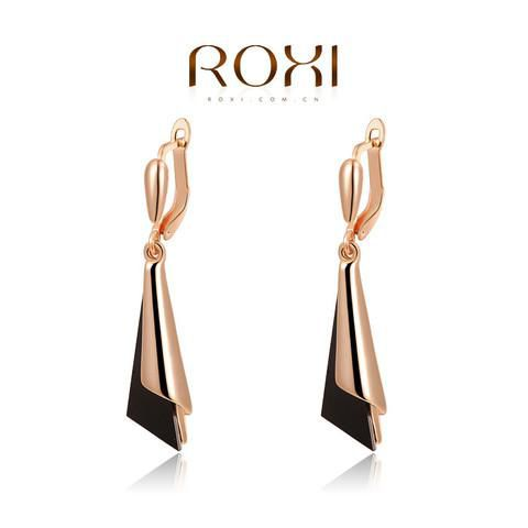 18K Gold Plated Onyx Channel Earrings