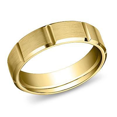 18k Yellow Gold Beveled Edge Wedding Band
