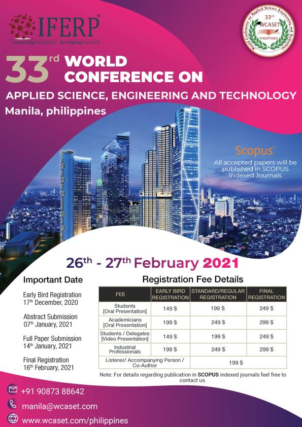 33rd World Conference on Applied Science, Engineering and Technology